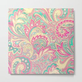 Pink Turquoise Girly Chic Floral Paisley Pattern Metal Print