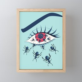 Creepy Red Eye With Ants Framed Mini Art Print