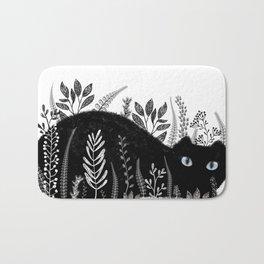 Garden Cat Black And White Bath Mat