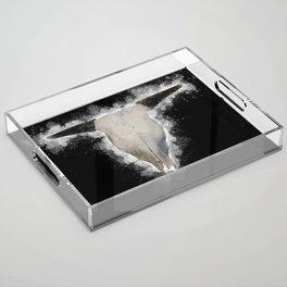Bull Skull Black Background Acrylic Tray