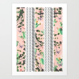 Pattern flowers and cactus Art Print