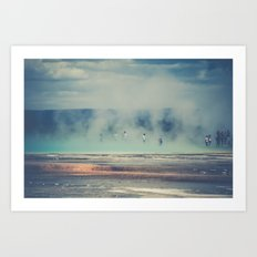 Water - People in Hot Springs at Yellowstone National Park Art Print