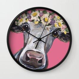 Cute Cow Art, Colorful Flower Crown Art. Wall Clock