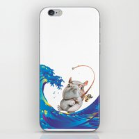 hokusai iPhone & iPod Skins featuring Hokusai Rainbow & Hippopotamus Fishing  by FACTORIE