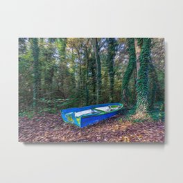 Abandoned boat aground in a forest in a natural park Metal Print