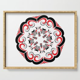 Floral Black and Red Round Ornament Serving Tray