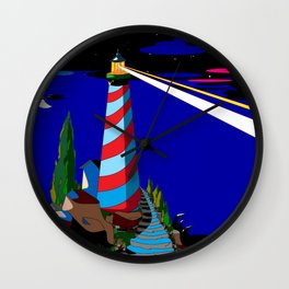 A Night at the Lighthouse with Search Light Active Wall Clock