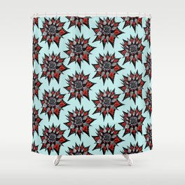 Spiked Abstract Flower In Red And Black Shower Curtain