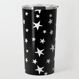 Stars - White on Black Travel Mug