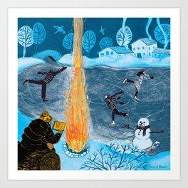 Holiday Skaters Art Print