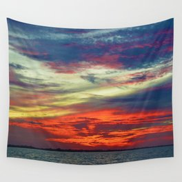 October Lake St.Clair Sunset Wall Tapestry