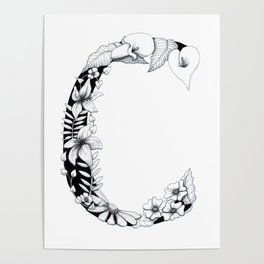 Floral Pen and Ink Letter C Poster