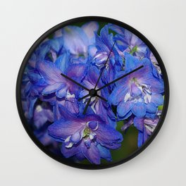 Sky blue Delphinium Flowers Wall Clock