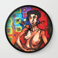 wallpaper Wall Clocks featuring Wallpaper by Lily Mandaliou