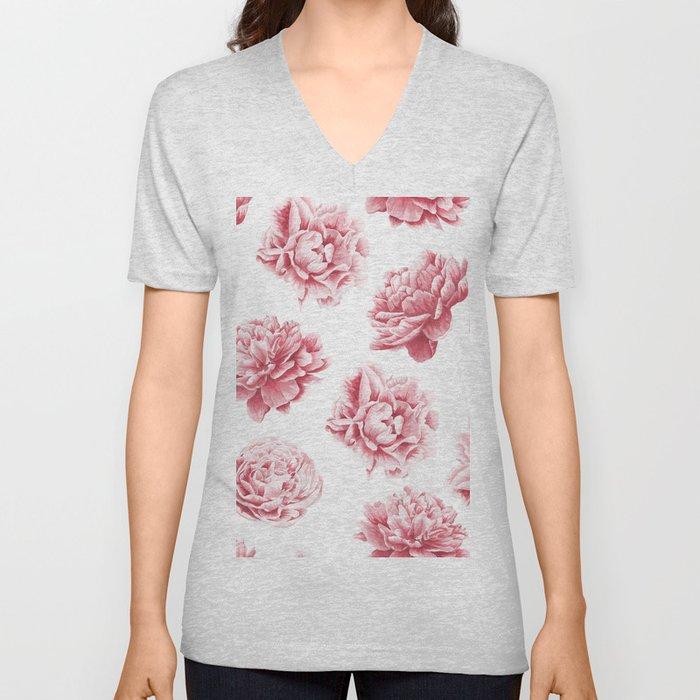 Pink Rose Garden on White Unisex V-Neck