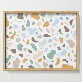 Colorful smooth stones terrazzo pattern Serving Tray