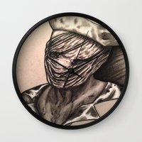 silent hill Wall Clocks featuring Silent Hill Nurse  by foulestgrunt187