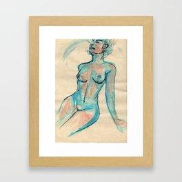 Portrait in blue Framed Art Print