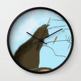 paysage avec chat Wall Clock