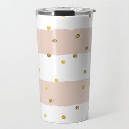 Dusty Rose grunge striped background with Gold confetti Travel Mug