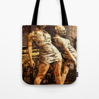 silent hill Tote Bags featuring Deadly Duo Silent Hill Nurses by Joe Misrasi