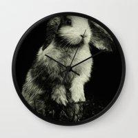 bunny Wall Clocks featuring Bunny by Digital Dreams