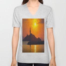 Lighthouse Impressionism Unisex V-Neck