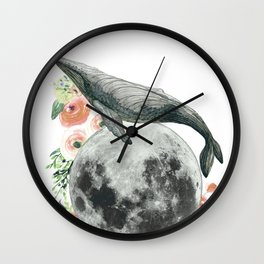 Moon Whale Wall Clock