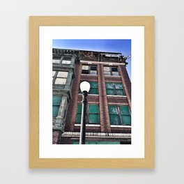 Abandoned Building with Lamp Post Framed Art Print