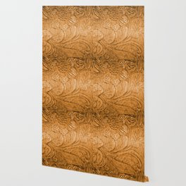 Golden Tan Tooled Leather Wallpaper