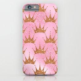 Princess Glitter Gold Crowns on Lollipop Pink iPhone Case