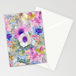 Abstract floral sketch watercolor hand paint. Stationery Cards