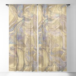 Marble Paint Swirl Trendy Abstract Glitter Rose Gold Teal Ultra Violet Sheer Curtain