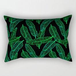 Banana Leaf (Black Glow) - Green Rectangular Pillow