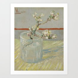 Sprig of Flowering Almond in a Glass Art Print