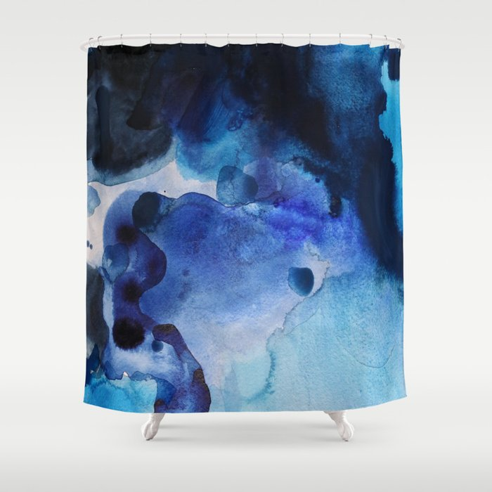 Indigo Watercolor Shower Curtain