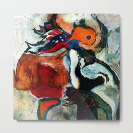 Orange Abstract Art / Surrealist Painting Metal Print