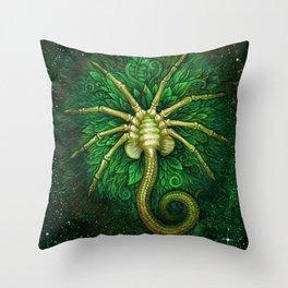 Facehugger (green) Throw Pillow