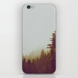 Olive Green Sepia Misty Pine Forest Landscape Photography Parallax Trees iPhone Skin
