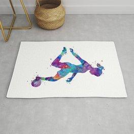 Soccer Girl Player Watercolor Art Gift Sports Art Rug