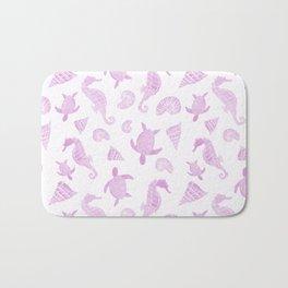 Sea Creatures | Light Pink Ocean Animal Pattern Bath Mat