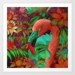"""""""Tropical Floral Retro Flamenco"""" Art Print"""
