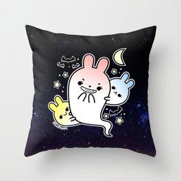 naughty halloween bunny ghost Throw Pillow