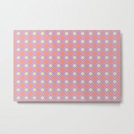 Coral Diner Tile Pattern Metal Print