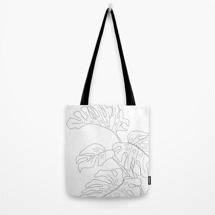 Line Art Monstera Leaves Tote Bag