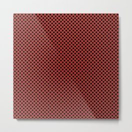 Aurora Red and Black Polka Dots Metal Print
