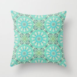 Cream And Turquoise Flowers Throw Pillow