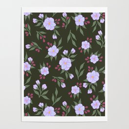 Lilac Flowers on Green - Floral Pattern Poster