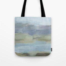Sky Gray Blue Sage Green Abstract Wall Art, Painting Art, Lake Nature Painting Print, Modern Tote Bag