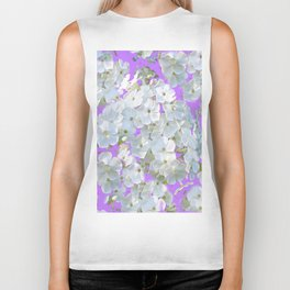 DELICATE LILAC & WHITE LACE FLORAL GARDEN PATTERNS Biker Tank